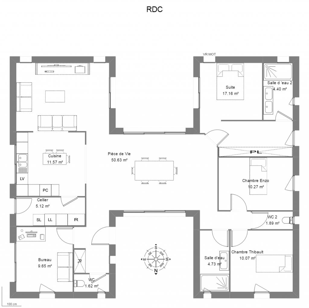 Plan d architecte maison plan maison 300m2 avec forage for Plan maison 300m2