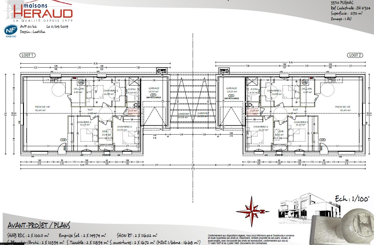 Terrain à vendre PUGNAC 2200m²